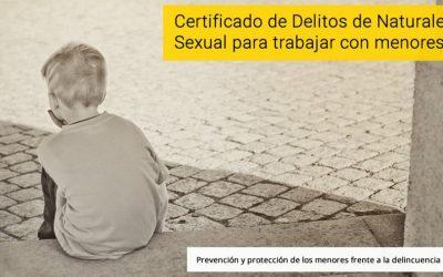 Certificado delitos sexuales para poder trabajar con menores